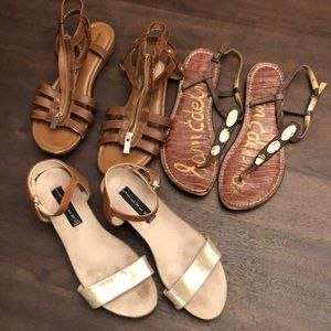 Lot of brown sandals